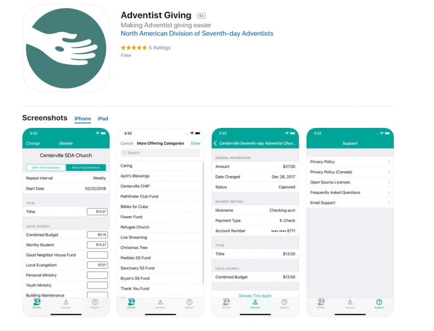 Giving On The Go- Adventist Giving App